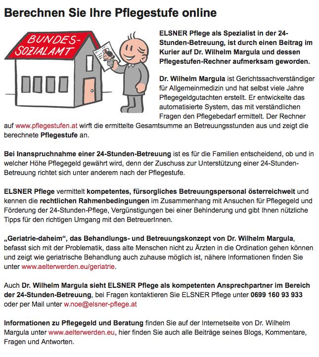 Artikel in der Wiener Bezirkszeitung, wie man online die Pflegestufe berechnet.