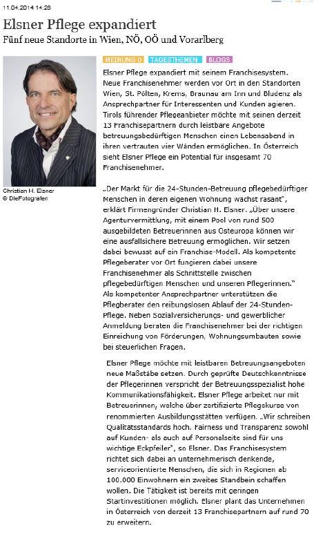 Artikel in Boerse-Express über 5 neue Standorte von Elsner Pflege in Vorarlberg, Niederösterreich, Oberösterreich und Wien.