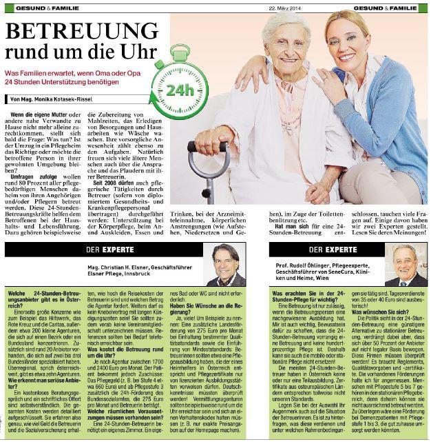 Zeitungsartikel in der Kronen Zeitung zur Betreeung rund um die Uhr, mit einem Interview von Herrn Elsner.