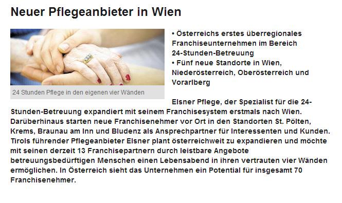 Artikel in der Wiener Bezirkszeitung über Elsner als neuen Pflegeanbieter in Wien.
