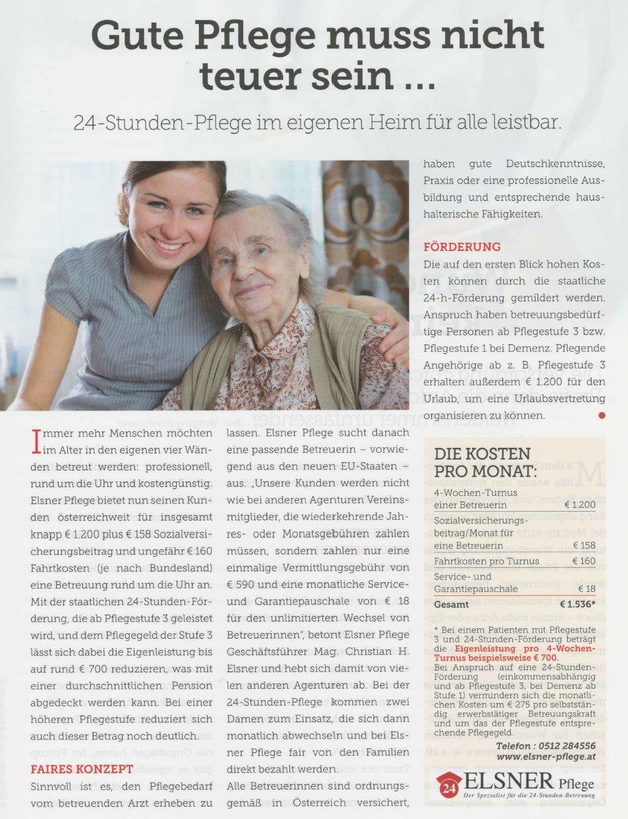 """Artikel zur Elsner 24-Stunden-Pflege in """"Gesundheit - einfach gut leben"""""""