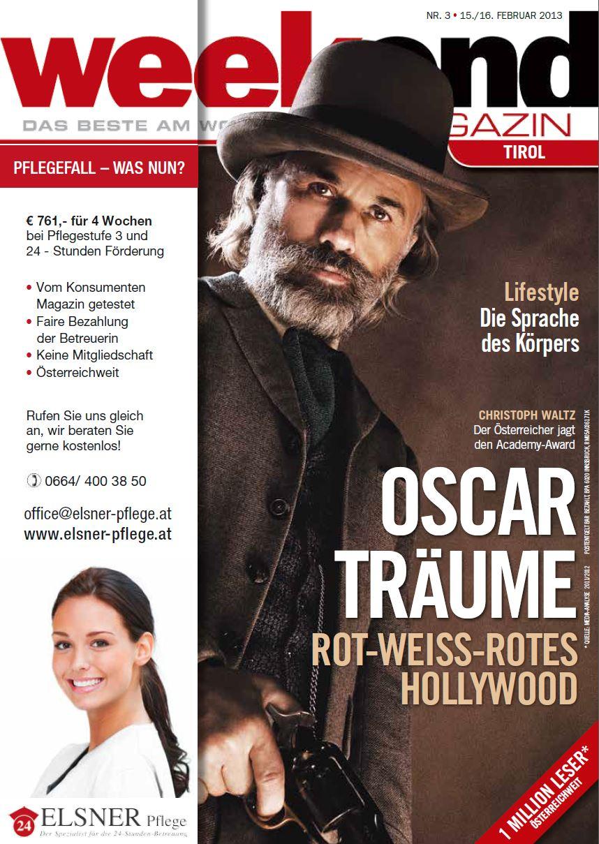 Weekend Cover mit Werbung von Elsner Pflege